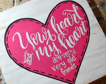 Your Heart- Love Hot Pink Heart Wooden Sign