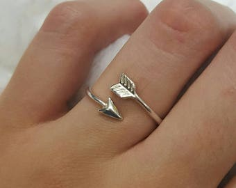 Arrow ring minimalist jewelry design 925 sterling silver adjustable original native american jewelry .925 silver arrow size from 7.5 to 8.5