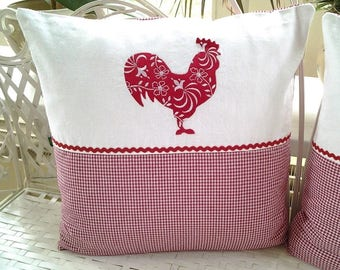 1 set Cushion cover rooster and hen