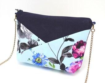 Trousse en coton bleu marine et bleu pâle à fleurs roses et bleues