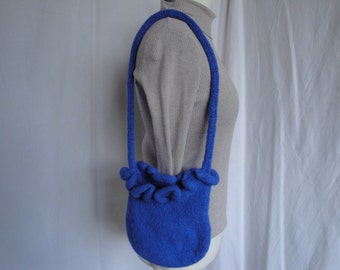 blue shoulder bag, felt bag, blue felt purse, felt shoulder bag, knitted blue bag, blue wool felt bag, OOAK felted purse, knitted felt bag