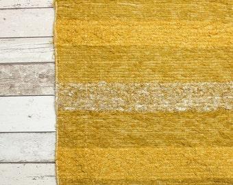 Yellow Runner Rug. 65x230 cm. (2'2'x 7'6)  Hallway runner, Kitchen runner rug, rugs,  Handwoven Cotton | Eco-Friendly | Washable