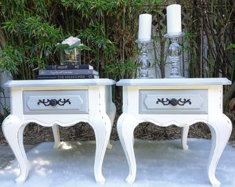 White w/ Gray Wash Finish French Provincial Nightstand Set (2)
