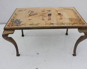 Vintage Brass And Hand Painted  Ceramic Tile Top Coffee Table.