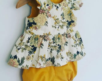 Autumn Floral Linen peplum top and mustard bloomers