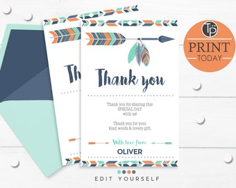 TRIBAL Thank you Card, Instant Download, Arrow Thank you, Navy Orange Teal Tribal Thank you, DIY Thank you, Instant Download, Editable, 0100
