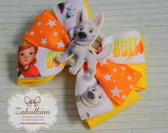 Volt hair bow Yellow orange bow Layered hair bow Volt party Volt birthday Toddler hair bow Disney cartoon bow Volt hair clip Girls hair bow