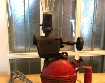 One-Of-A-Kind Antique Blowtorch Lamp