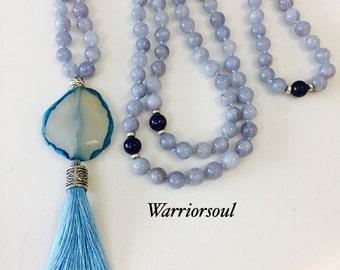 Aquamarine Mantra Mala Necklace
