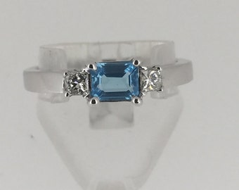 Blue Topaz and Diamond hand-crafted ring in 18K white gold