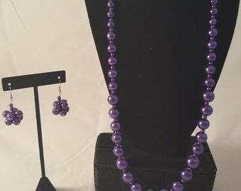 Purple Glass Pearl Jewelry Set - Purple Glass Pearl Necklace - Purple Glass Pearl Earrings - Purple Earrings - Purple Necklace - Pearl Set