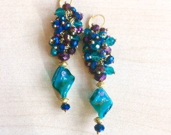 Gold plated, blue duck, Navy and purple earrings, Murano glass and Crystal clusters