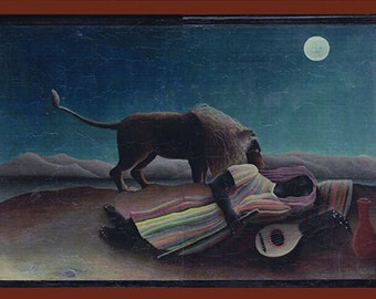 The Sleeping Gypsy -Henri Rousseau, 1897, MoMA, New York.FREE SHIPPING