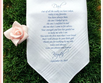 Father of the Bride Handkerchief-Wedding Hankerchief-PRINTED-CUSTOMIZED-Wedding hankies-Father in Law handkerchief-father of the bride gift