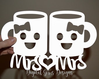 Mrs And Mrs paper cut svg / dxf / eps / files and pdf / png printable templates for hand cutting. Digital download. Small commercial use ok.