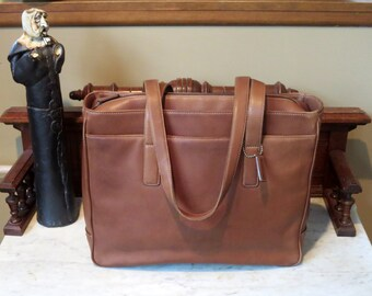 Spring Sale Coach Hamptons Padded Laptop Business Tote In British Tan Leather Style No 5209- VGC