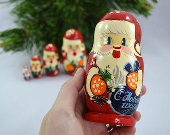 Vintage Russian Santa Nesting Dolls, 5 Wooden Santa Nesting Dolls