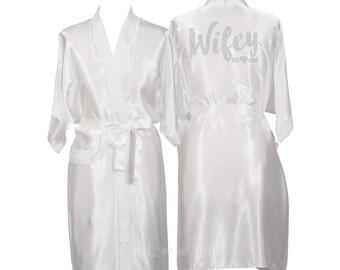 White Bride Robe, Personalised Wifey Dressing Gown, Wedding Robe, Satin Bride Robe, Wedding Gift, Wedding