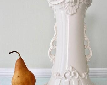 Large French Baroque Style Vase Vintage White Ceramic