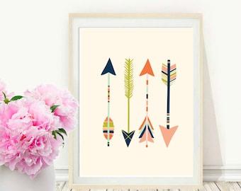 Pink Arrow Art,  Arrow Print, Printable Art, Pink Arrow,  Modern Wall Print,  Instant Download, Home Decor