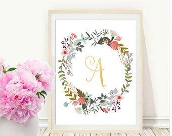 Monogram Print, Printable Wall Art, Custom Print, Initial Letter , Typography Art, Nursery Art, Floral Art,  Instant download