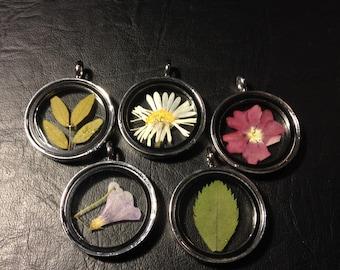 Specimen Necklace Pendant Dried Flowers