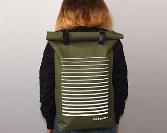 Minimalistic Backpack / Olive Green Backpack / Roll Top Backpack / Messenger Bag / Reflective Backpack / Travel Backpack / Reflective Bag