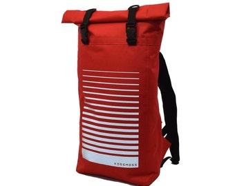 Red Waterproof Backpack / City Backpack / Rolltop Backpack / Safety  Reflective Bag / Messenger Bag / Bike Backpack / Laptop Backpack