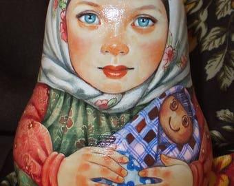 Russian matryoshka doll tumbler babushka Beauty girl handmade exclusive