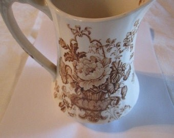 Vintage Charlotte Brown Transferware Pitcher ~ floral pattern