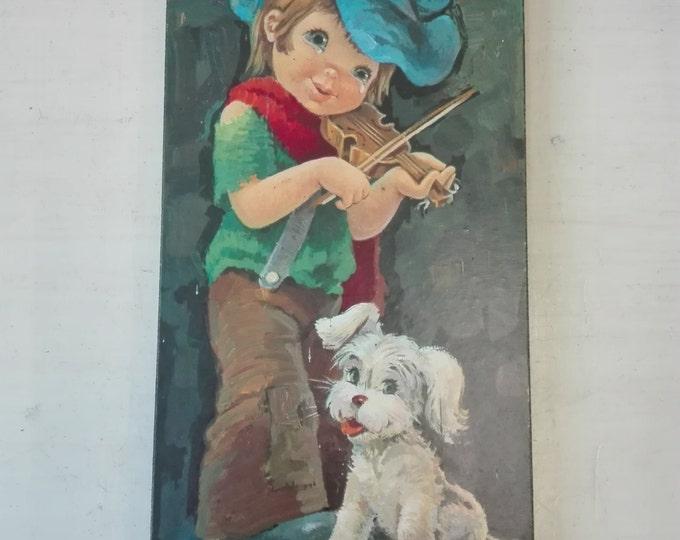 Vintage seventies wallhanger- Boy with violin - vernet