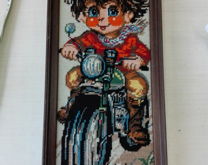 Embroidery poulbot, girl on bike