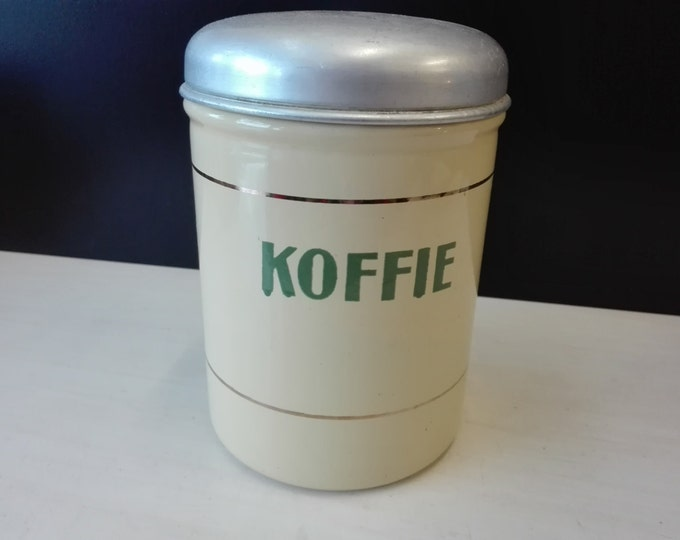 Cream colored enamel Dutch coffee canister