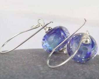 Dangle drop earrings ~ blue earrings with lampwork beads ~ Sarah Downton lampwork beads ~ something blue ~ sterling silver dangle earrings