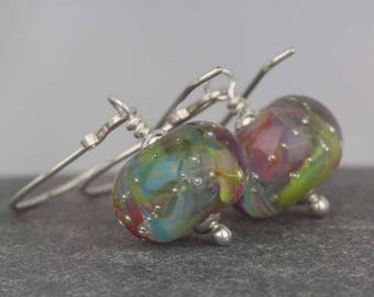 Silver earrings ~ lampwork beads ~ Sarah Downton beads ~ party celebration ~ one of a kind ~ beautiful beads ~ long dangle earrings