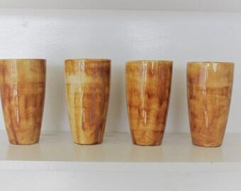 Handmade Tan / Brown Tumbler Drinking Juice Glass - Set of 4 - Stoneware Pottery - Wedding / Housewarming Gift - ML Pottery
