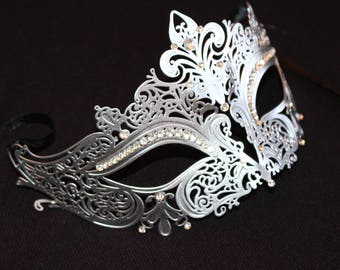Silver Lace Mask, masquerade mask, Free Shipping
