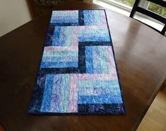 Quilted Batik table runner in blue, pink, lavender