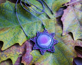Agate stone mandala flower of life pendant macrame necklace