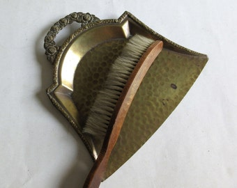 Antique Brass Table Dustpan Set, Crumb Tray And Brush