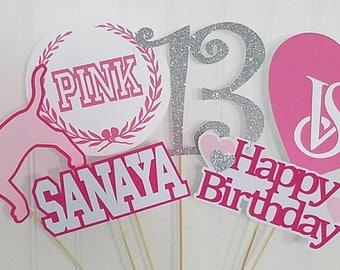 Victoria secret pink centerpiece picks, Victoria secret pink party decor, Victoria secret pink birthday supplies, Victoria secret party