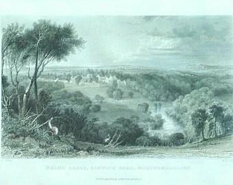 Vintage English print Hulne Abbey Alnwick Park Northumberland forest landscape mounted Peter Jackson