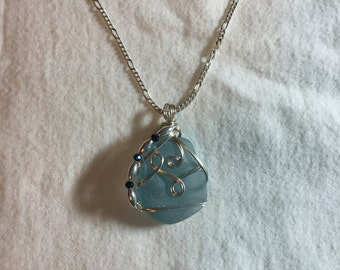 Sterling wrapped sea glass pendant with chain