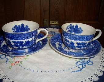 Two Vintage Blue Willow Cup and Saucer Sets...Made in Japan