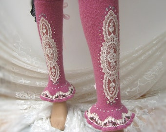 Romantic shabby chic reworked leg/arm warmers, altered leg warmers, Lace Up Leg Warmers, Boot Socks, Boot Cuffs, art to wear, OOAK