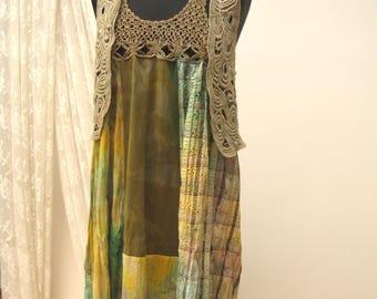Summer Festival folk Dress, hand dyed upcycled dress, gypsy dress, cotton folk dress, reworked maxi dress, retro bohemian dress, upcycled