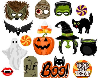 Halloween digital photo booth party props instant download
