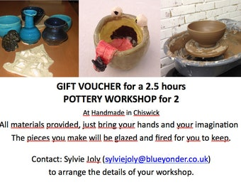 GIFT VOUCHER for POTTERY Workshop for 2