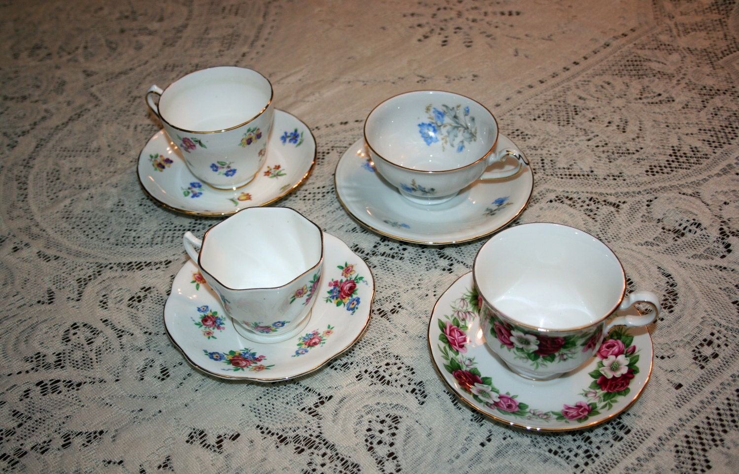Vintage Set Of 4 Teacup And Saucer Winterling Queen Anne