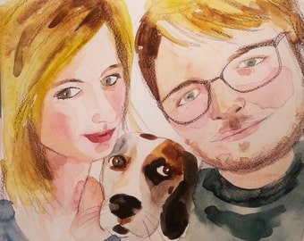 Custom Watercolor Family Portrait,custom wall art, personalized family portrait, couple drawing, anniversary, gift, Illustration